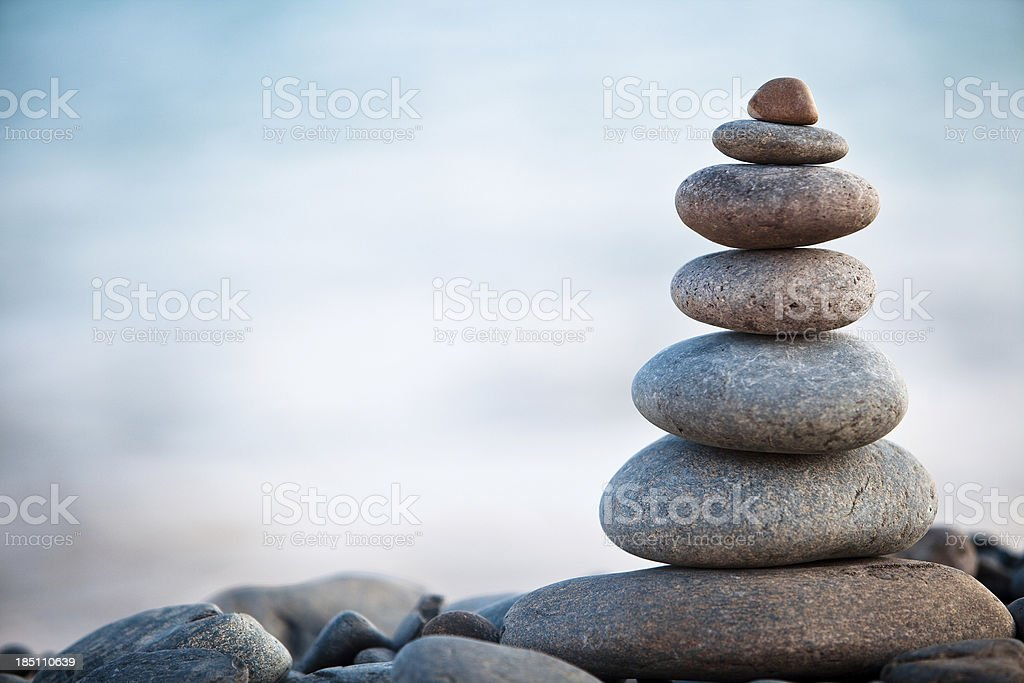 Stones balance - pebbles stack stock photo