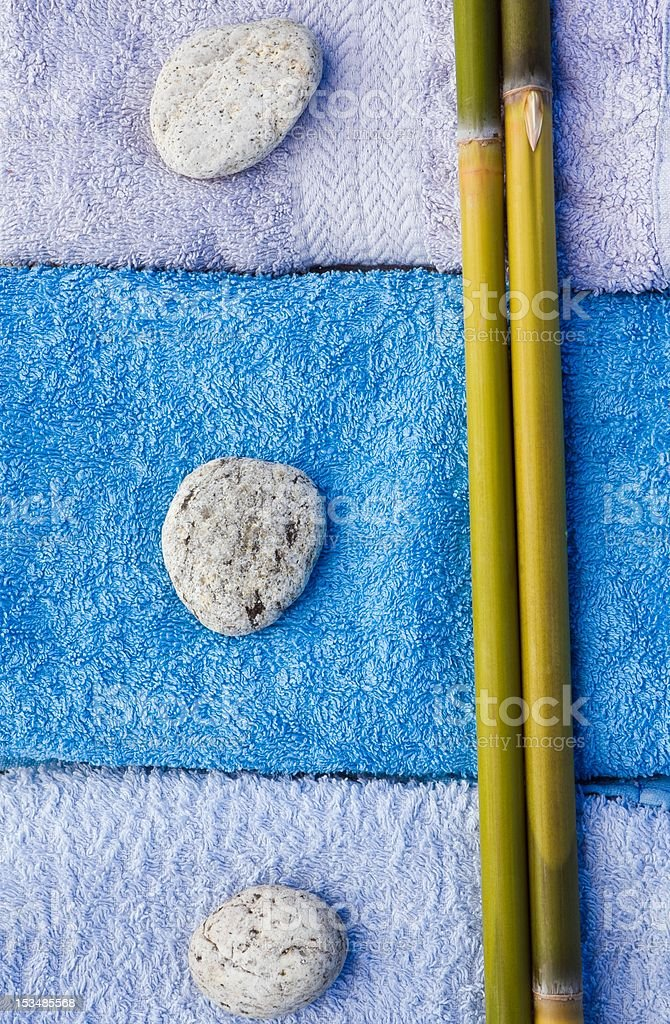 Stones, bamboo and bath towels royalty-free stock photo