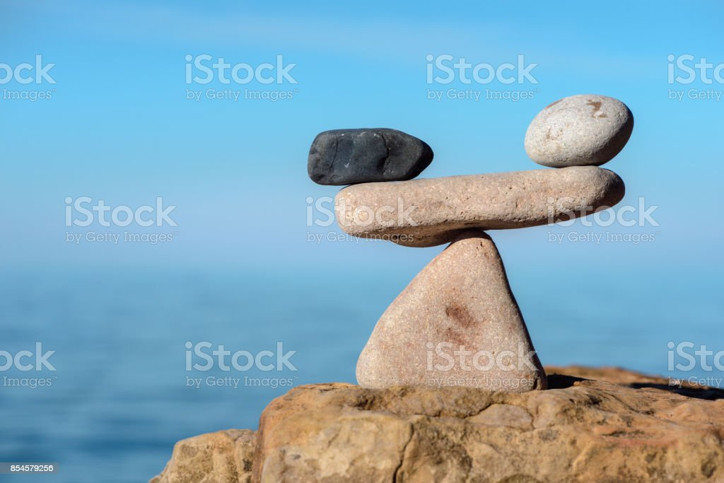Stones in symmetrical balance stock photo