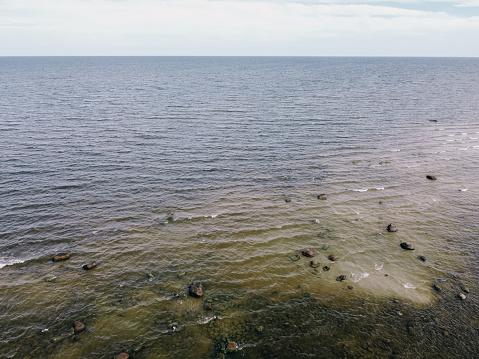 Stones in the Baltic Sea in Kaltene, Latvia