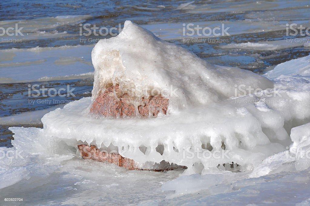 Stones Landscape Ice Sea stock photo