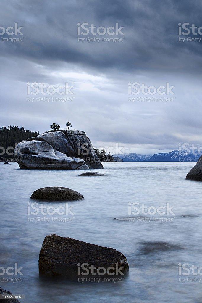 Stones Leading to Banzai Rock at Lake Tahoe royalty-free stock photo