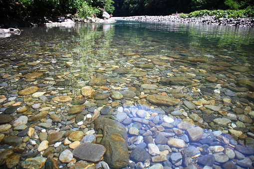 Stones of the mountain river in the sunny day