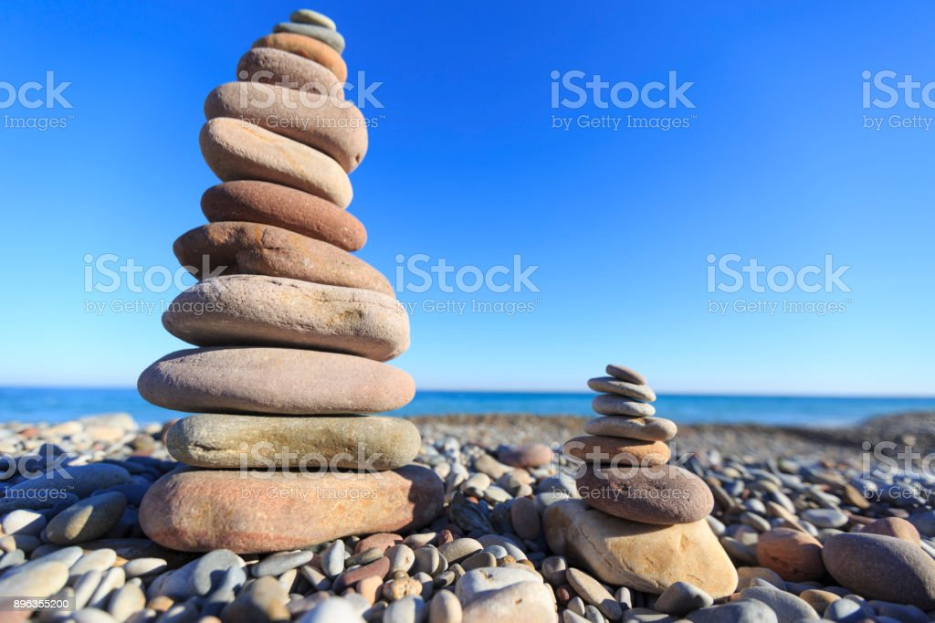 Stones on a beach stock photo