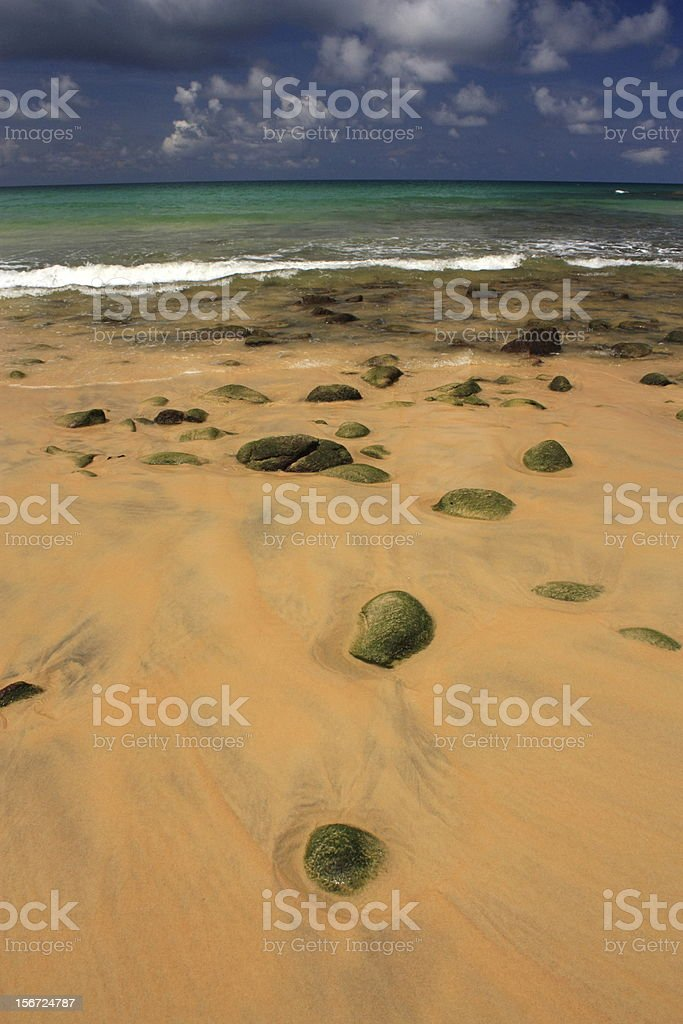 Stones on exotic, tropical, sandy beach royalty-free stock photo