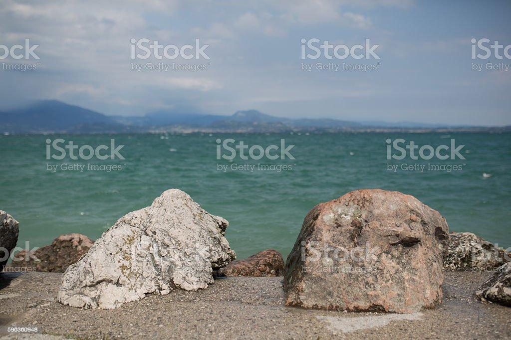 Stones on the Gardasea royalty-free stock photo