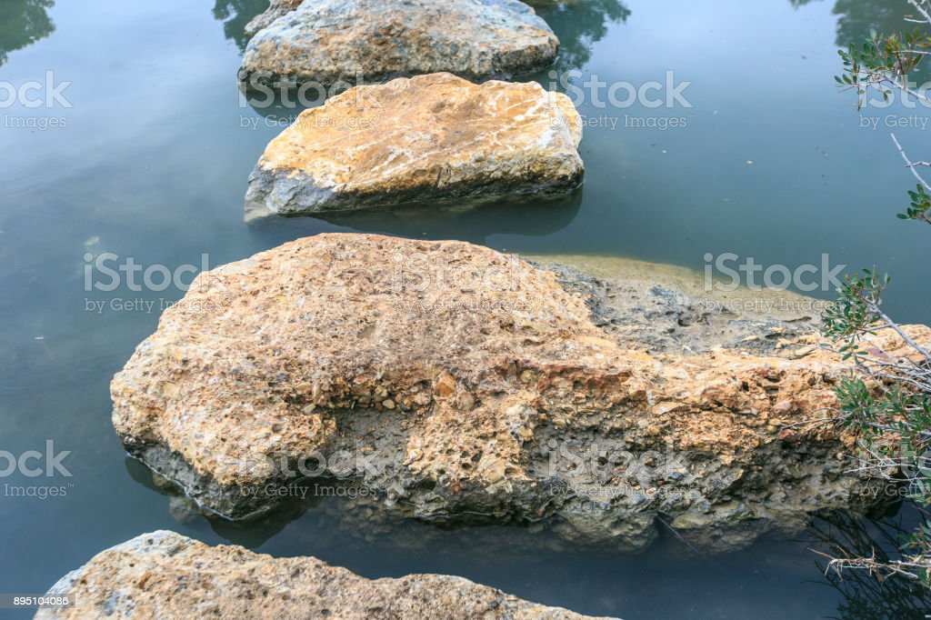 Stones on the river stock photo