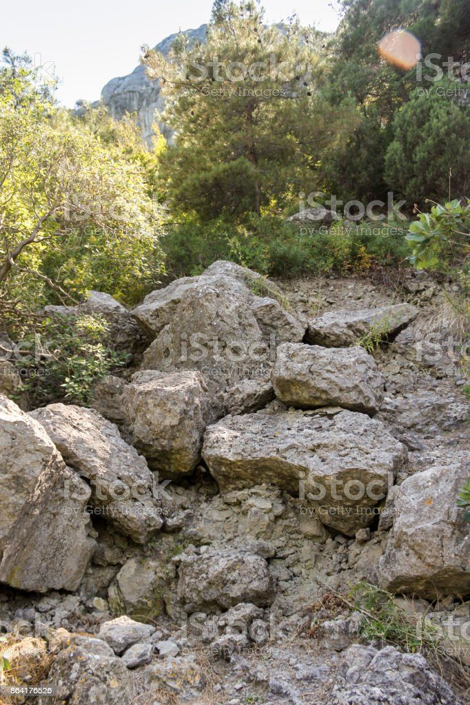 Stones on the slope. royalty-free stock photo