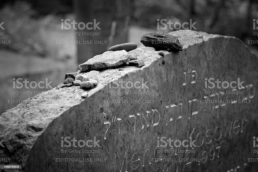 Stones on the tombstone of a jewish grave stock photo