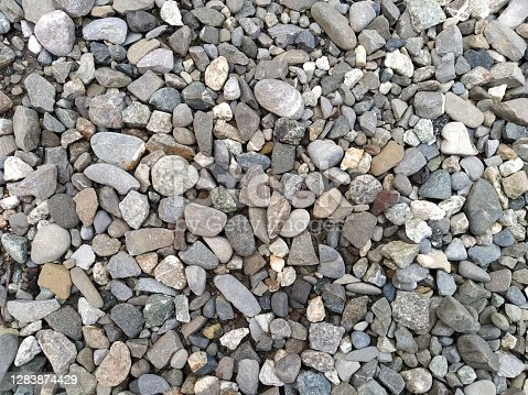 Different small stones, different colours and sizes, natural