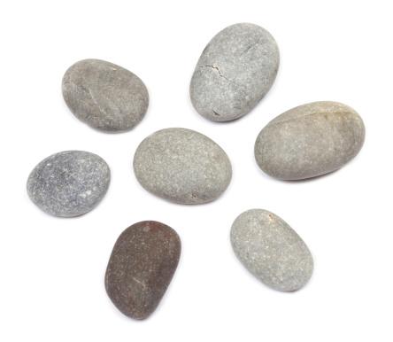 Pebbles on white background
