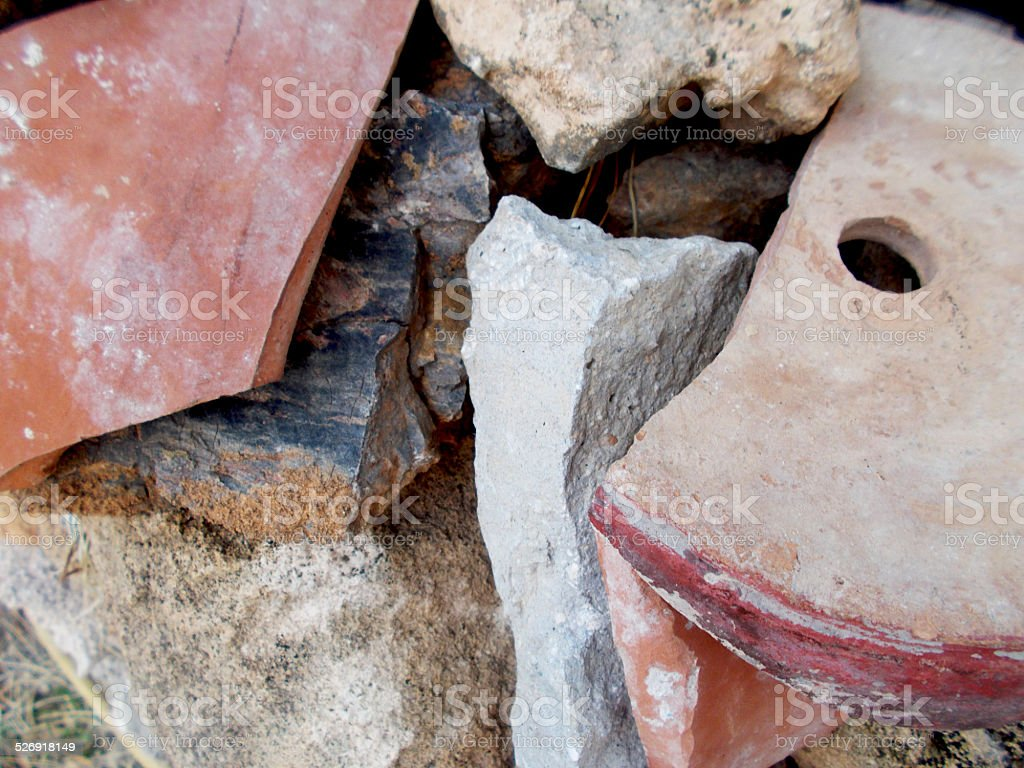 Stones, ruins and dirt stock photo