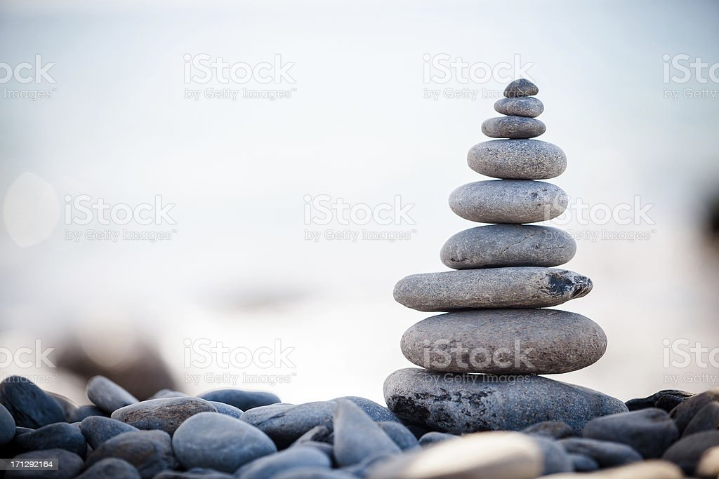 Stones stacked in balanced pile stock photo