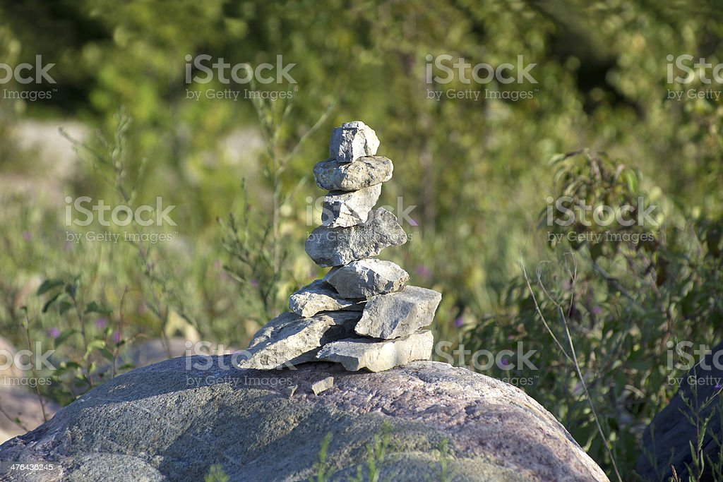 Stones Stacked on Large Rock royalty-free stock photo