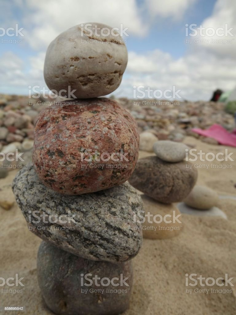 Stones tower in the beach of Lithuania stock photo