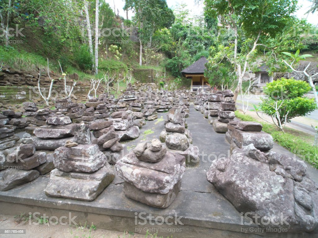 Stones used for old temples at at Goa Gajah, Bali stock photo