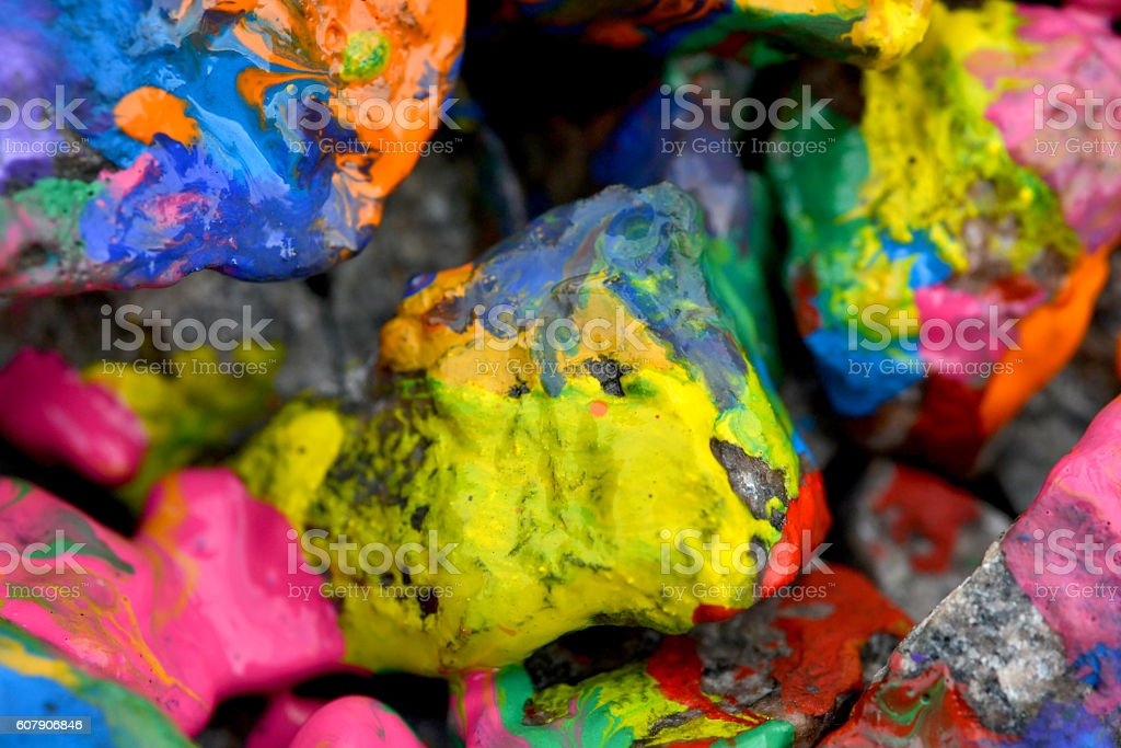 stones with colorful paint stock photo