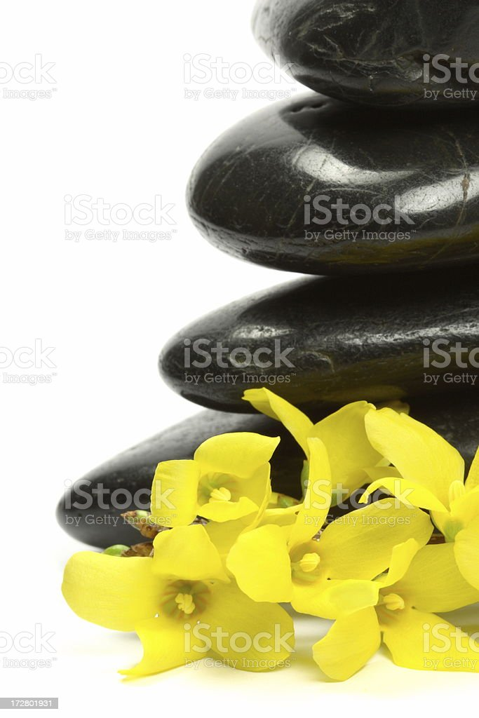Stones with Yellow Flower royalty-free stock photo