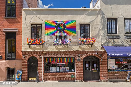 It is the site where the Stonewall riots of 1969 occurred. The riots are considered to be the most important event leading to the gay liberation movement in the United States. Gay Pride Flag (LGBT pride flag or Rainbow flag) is in the image. Canon EOS 6D (full frame sensor). Polarizing filter.