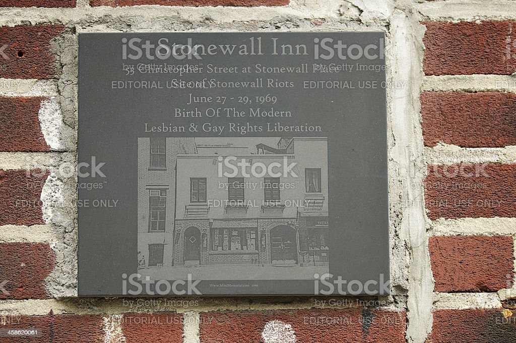 Stonewall Inn Memorial Plaque Close Up stock photo
