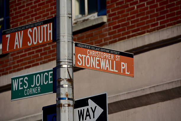 Stonewall place sign and Christopher street stock photo