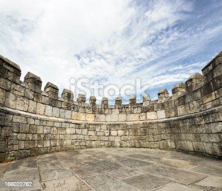 An ancient circular wall, part of the historic city walls of York, England.
