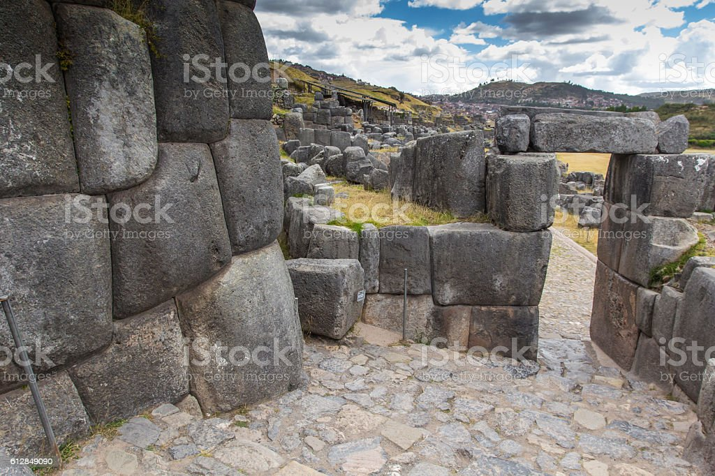 Stonework of the walls of Sacsayhuaman, in Cusco, Peru stock photo