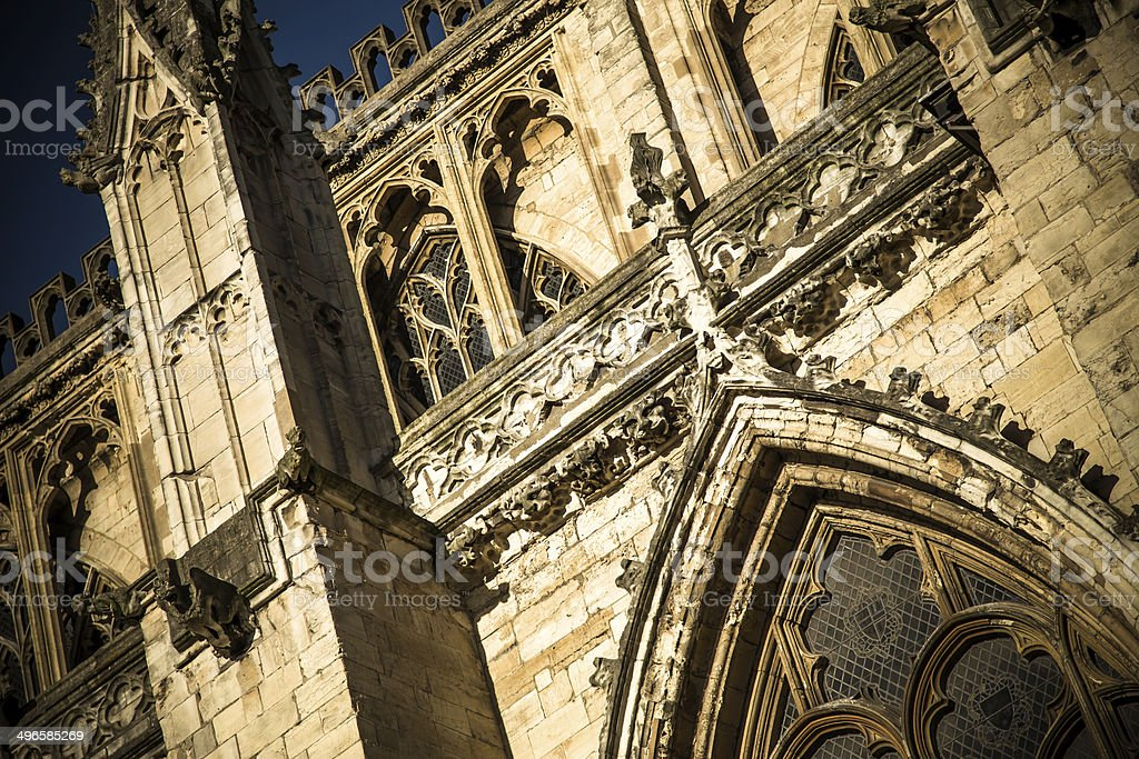 Stonework of York Minster royalty-free stock photo
