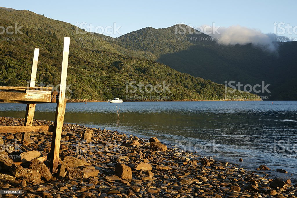 Stoney beach foreground to scenic landscape royalty-free stock photo