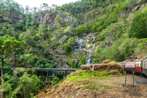 Stoney creek at Kuranda Scenic Railway , Cairns, Australia stock photo