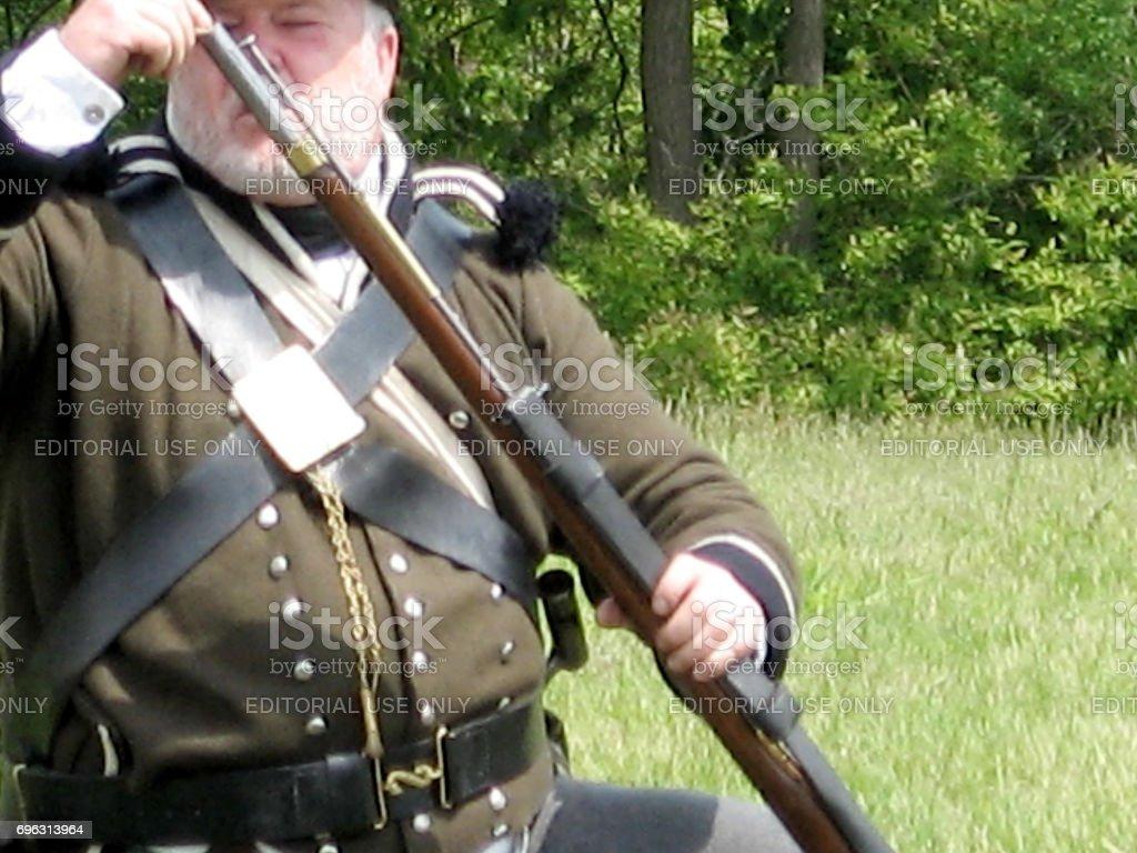 Stoney Creek Battlefield Musket Charge 2009 stock photo