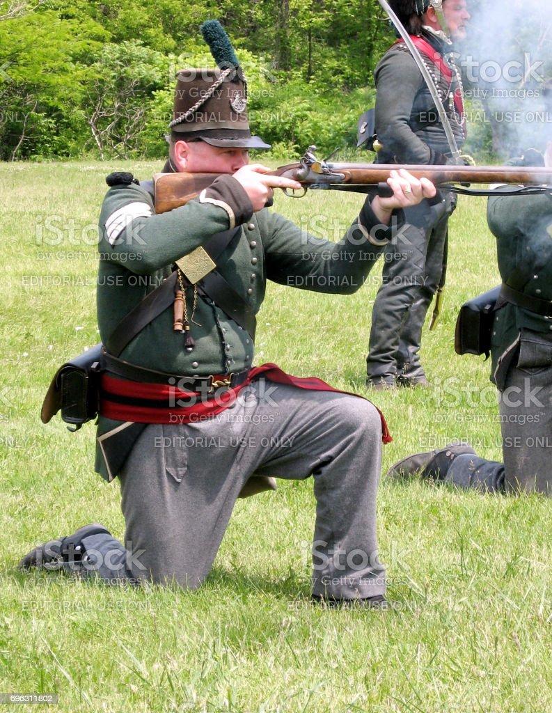 Stoney Creek Battlefield shooting from musket 2009 stock photo