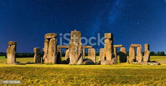 Lit by moonlight, Stonehenge panorama.