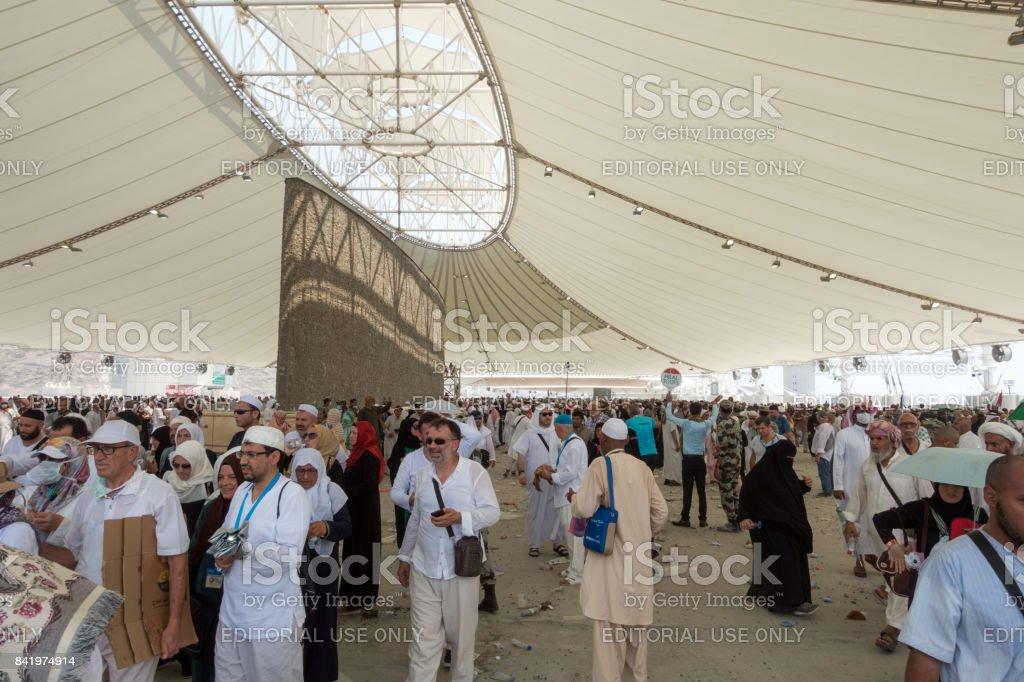 Stoning the Devil in Jamarat during Hajj stock photo