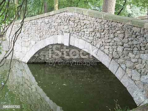 Stony Bridge With Reflection In The Water Stock Photo & More Pictures of Branch - Plant Part
