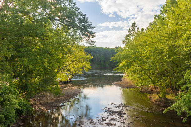 Stony Brook flowing into the Connecticut river stock photo
