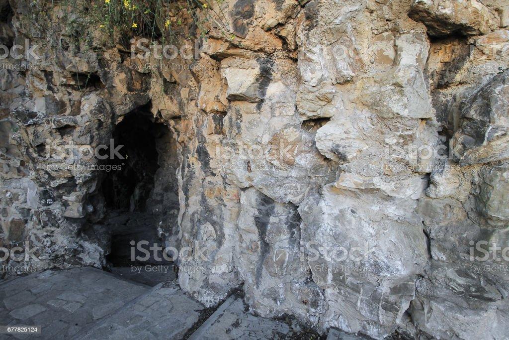 Stony cave entrance. royalty-free stock photo