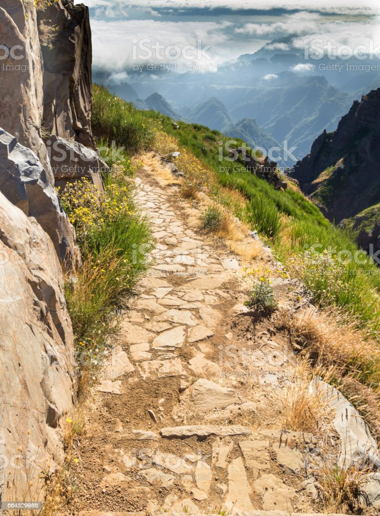 Stony track along break in the mountains of Madeira royalty-free stock photo