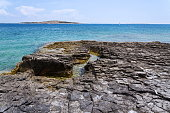 Stony waterside on Kamenjak peninsula, Adriatic Sea, Premantura, Croatia