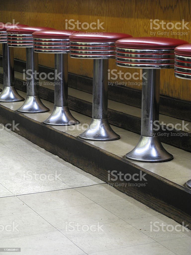 Stools Diner Restaurant stock photo