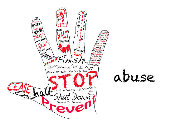 Stop Abuse Outline of a hand with the words for Stop along with the word Abuse stop single word stock pictures, royalty-free photos & images