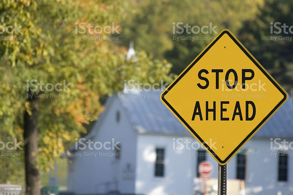 Stop Ahead at the church royalty-free stock photo