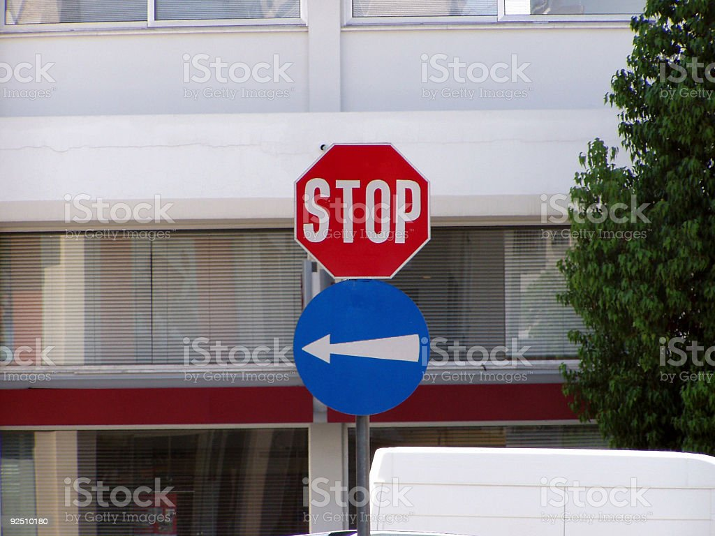 Stop and direction signs royalty-free stock photo