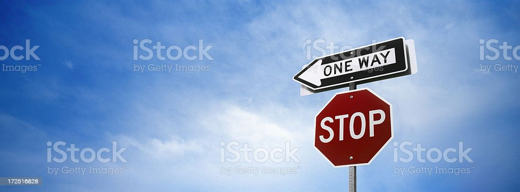Stop and One Way Signs royalty-free stock photo