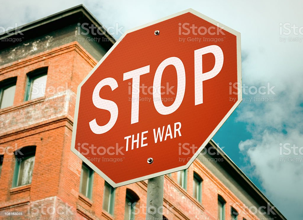 Stop: Anti-War Road Sign royalty-free stock photo
