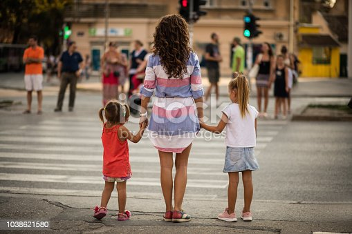 135384905 istock photo Stop at the traffic light for your safety. 1038621580