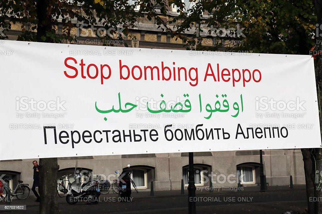 Stop Bombing Aleppo slogan stock photo
