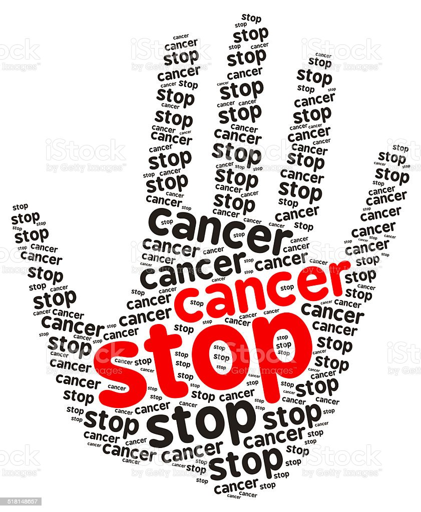 Stop Cancer word cloud in the shape of a palm stock photo