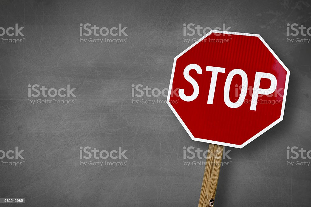 Stop chalk board stock photo