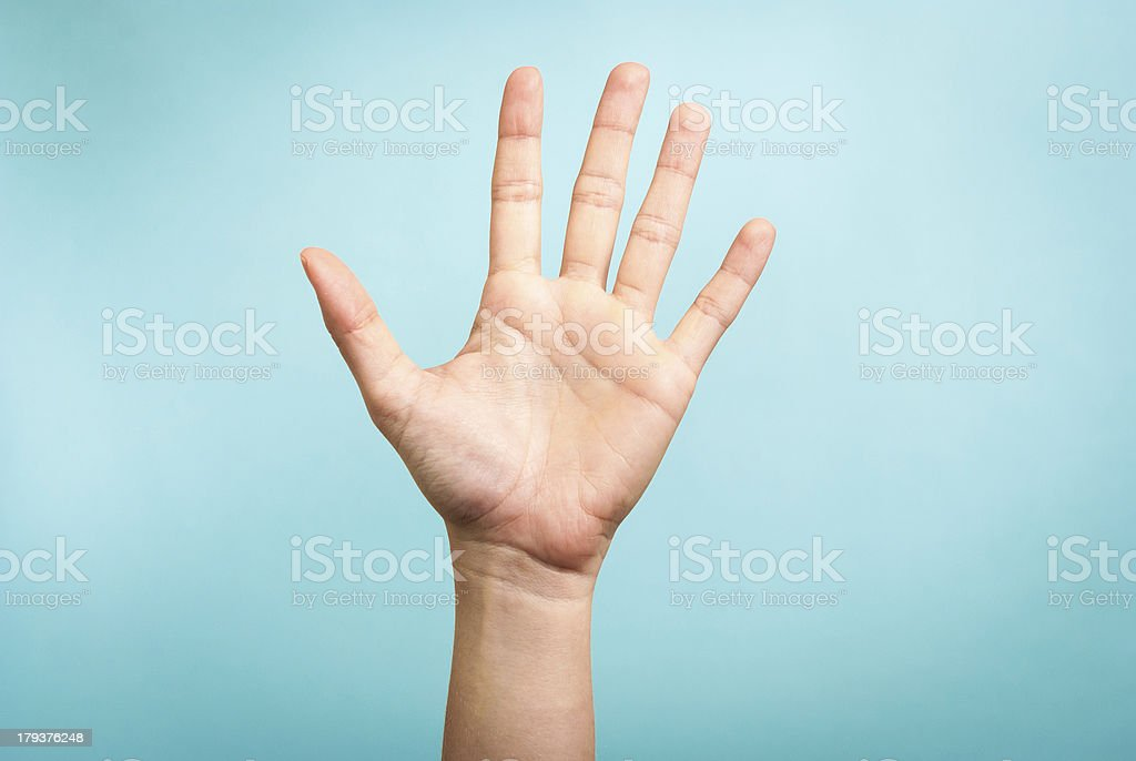 Stop concept with hand up stock photo